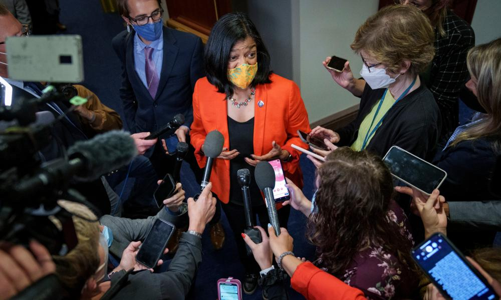 Pramila Jayapal, chair of the Congressional Progressive Caucus, talks to reporters amid negotiations to pass both an infrastructure bill and a reconciliation bill focuses on social and environmental goals.