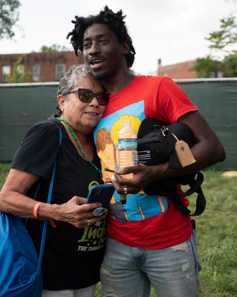 Tahir Johnson and friend at the National Cannabis Festival.