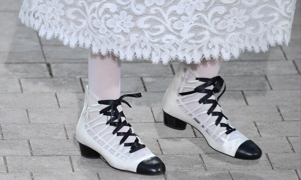 A quirky take on the classic Chanel two-tone shoe.