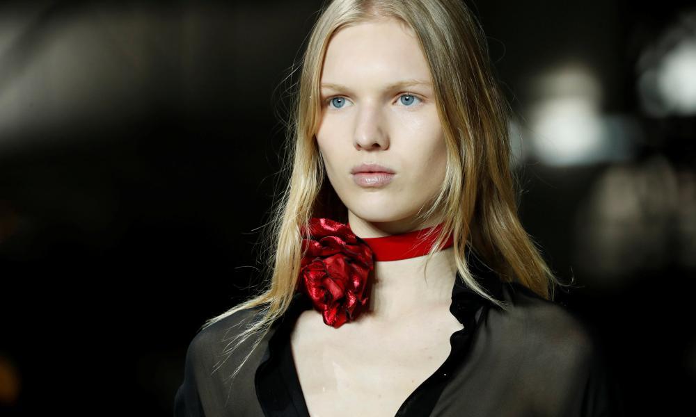 A model at the Saint Laurent show in Paris.