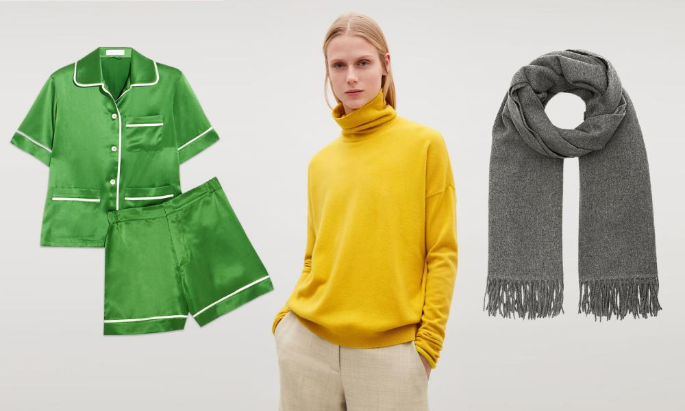 Winter winners … Pyjamas by Olivia von Halle, sweater by Cos and scarf by Acne.