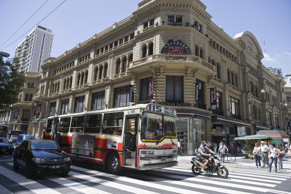 Public bus and Galerias Pacifico shopping mall, Buenos Aires, Argentina, South America, America