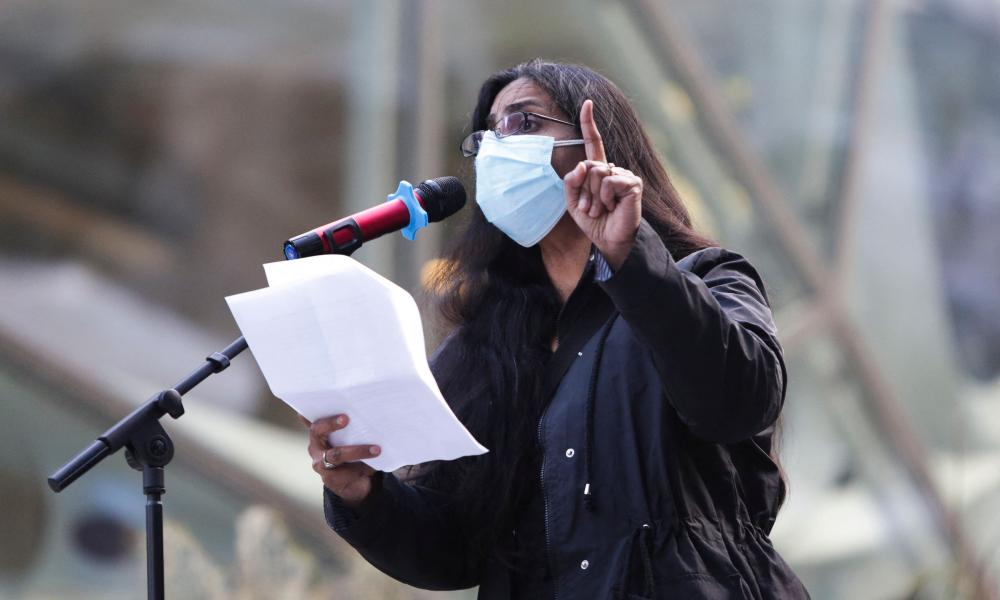 Seattle City Council Member Kshama Sawant speaks during a rally.