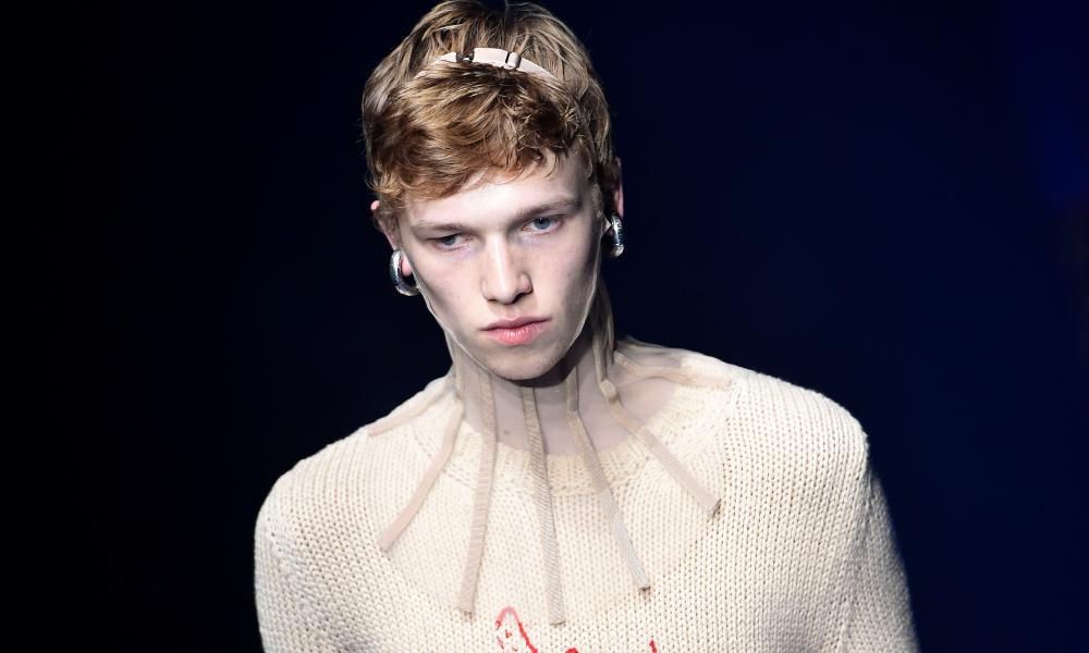 A model presents a creation by Gucci at the Milan show on Wednesday.