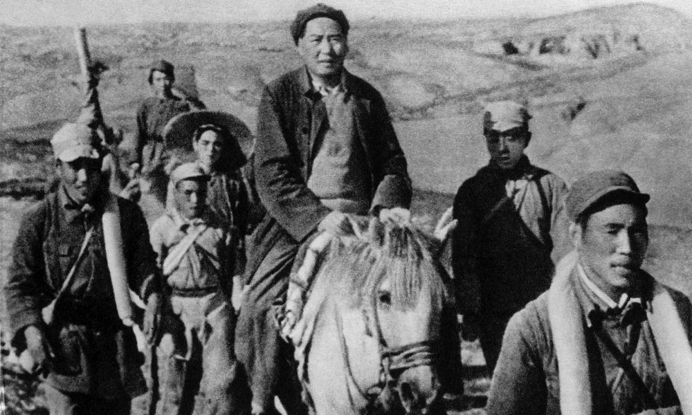 Mao Zedong on the Long March in Shaanxi province in 1934 or 1935.