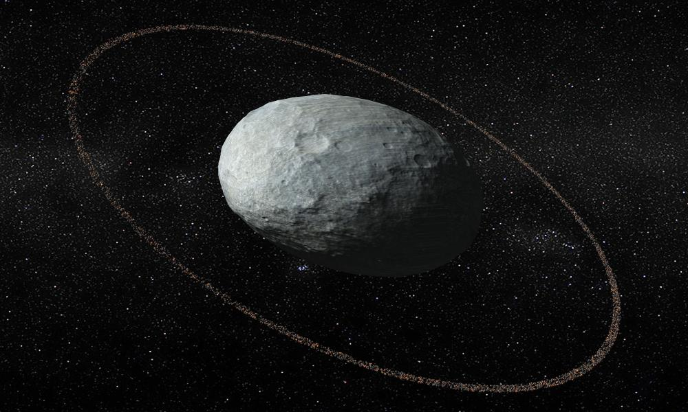 Artistic illustration of Haumea and its ring system. The ring is located at 1,421 miles from the centre of the dwarf planet and is darker than its surface.