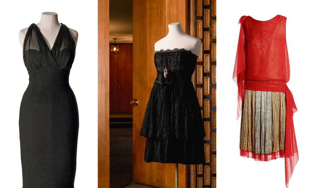 Musings on Fashion and Style: Museo de la Moda by Kate Moss. L to R: anonymous, circa 1955; cocktail dress in wool jersey and silk chiffon that belonged to Marilyn Monroe, US. Christian Dior, London, 1966; cocktail dress – rayon lace, satin bow, pearl and rhinestone brooch – worn by Sharon Tate, France; Callot Soeurs, circa 1927; evening ensemble – silk crepe with lame – France.