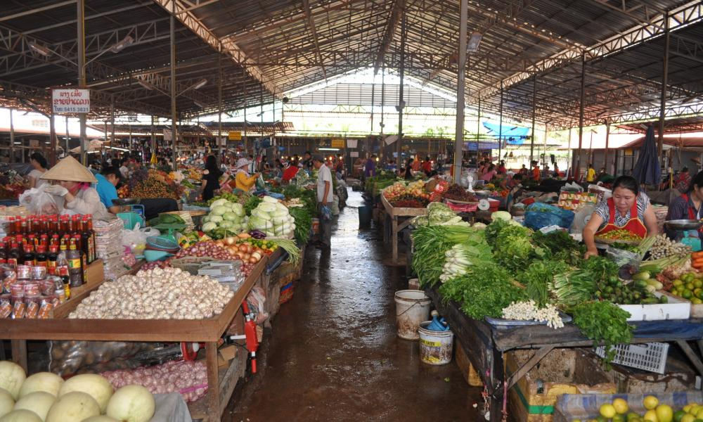 Laos food market.