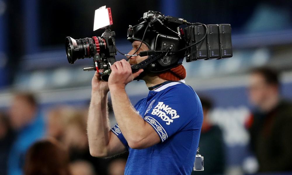 A camera operator at Everton