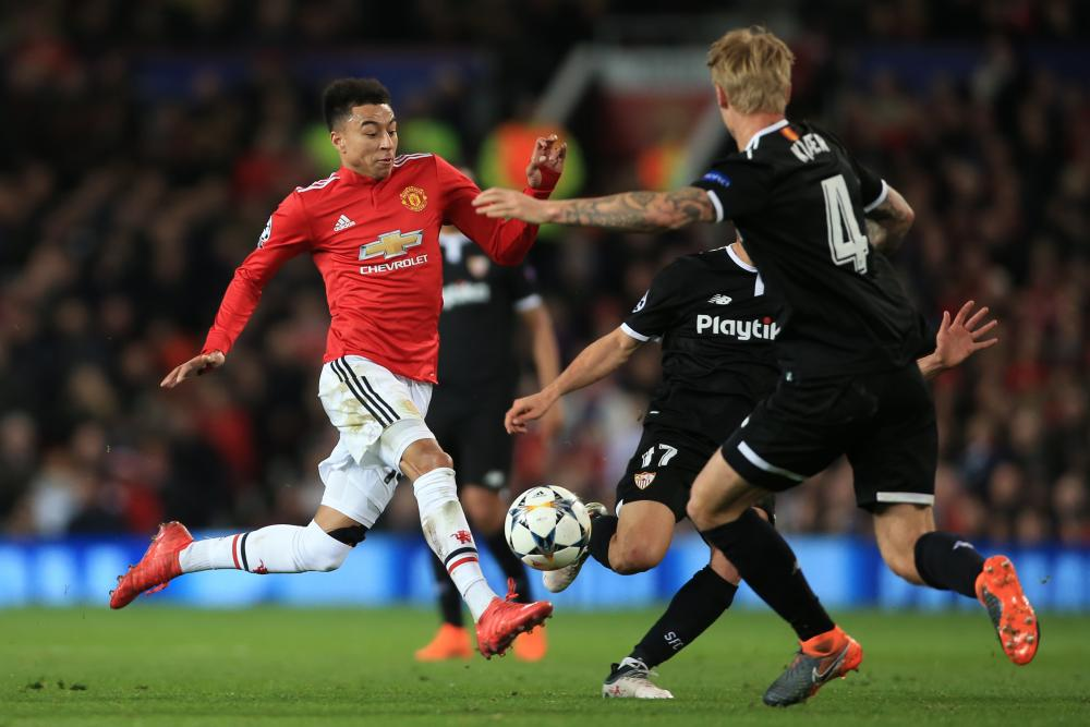 Lingard on the attack.