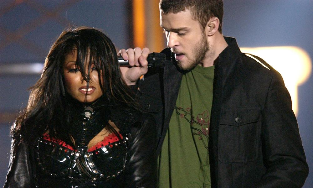 Janet Jackson and Justin Timberlake at the 2004 Super Bowl.