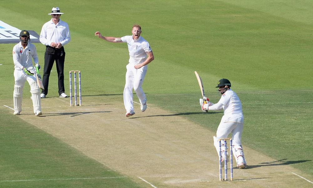 Ben Stokes successfully appeals for the wicket of Mohammad Hafeez.