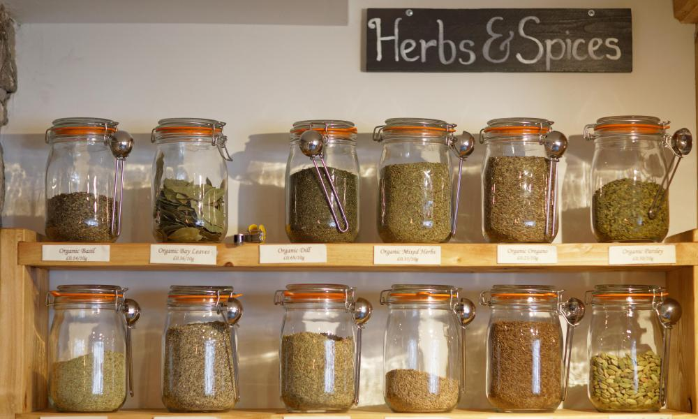 Herbs and spices on sale at Natural Weigh.