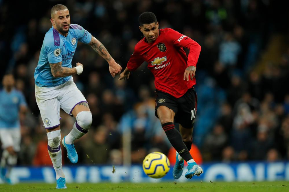 United's Marcus Rashford puts on the after burners during the Manchester derby.