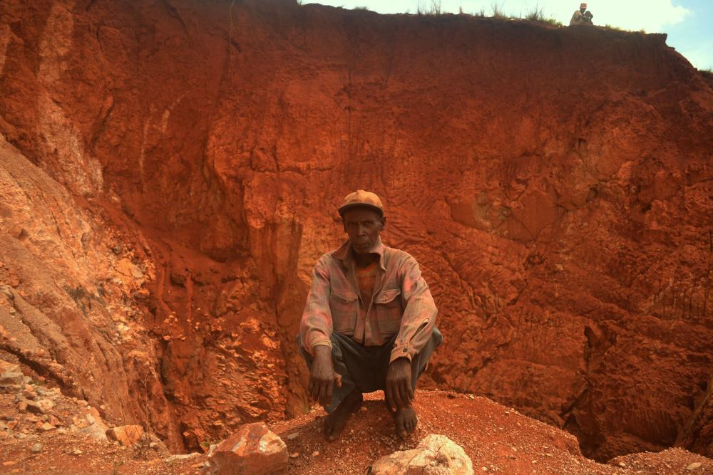 Rakotondrasolo, a miner from a village near Anjoma Ramartina, at the edge of the rose quartz mine where he and his family work.