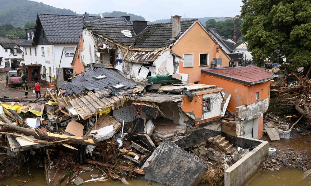 A destroyed house is pictured after floods caused major damage in Schuld near Bad Neuenahr-Ahrweiler, western Germany.