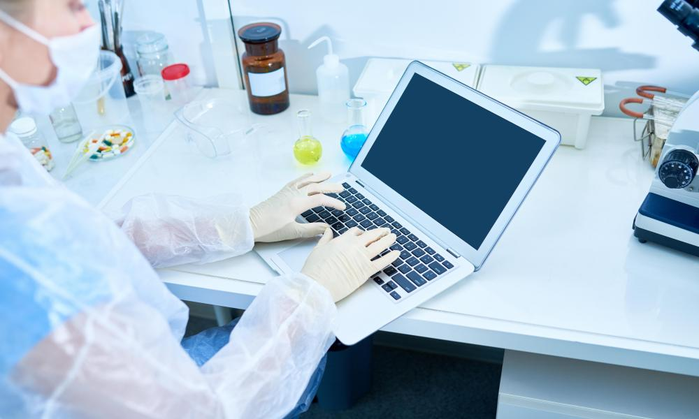 Stock photo of researcher typing scientific article