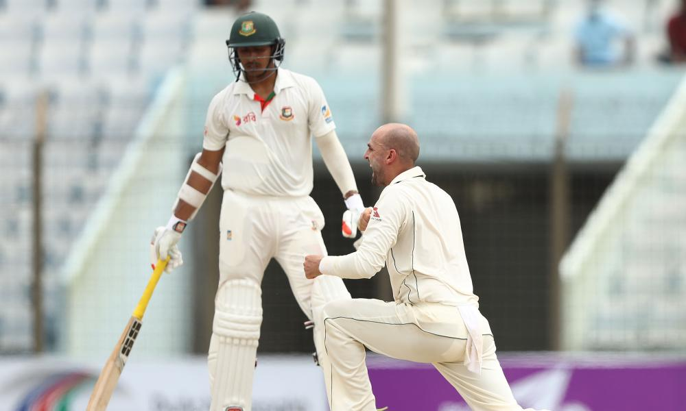 Nathan Lyon of Australia celebrates taking the wicket of Tamim Iqbal Khan of Bangladesh