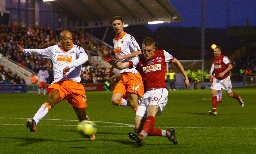Jamie Vardy scores a consolation goal for Fleetwood in their 5-1 home defeat to Blackpool in the FA Cup third round in 2012.