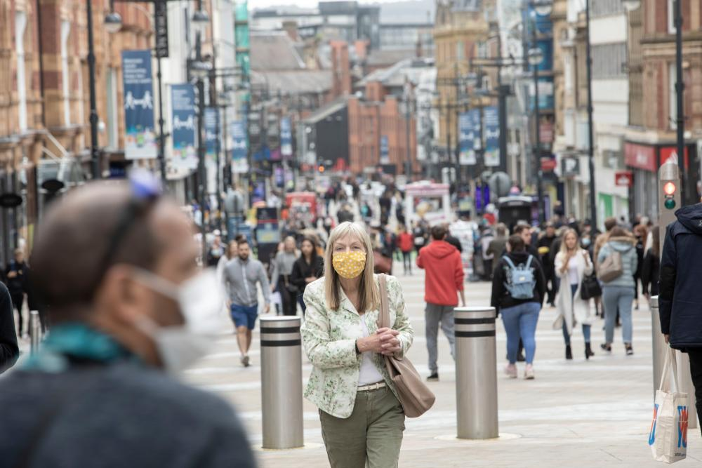 Leeds city centre on 4 September 2020, the day it was placed on a national coronavirus infection watchlist due to the rising infection rate within the city.