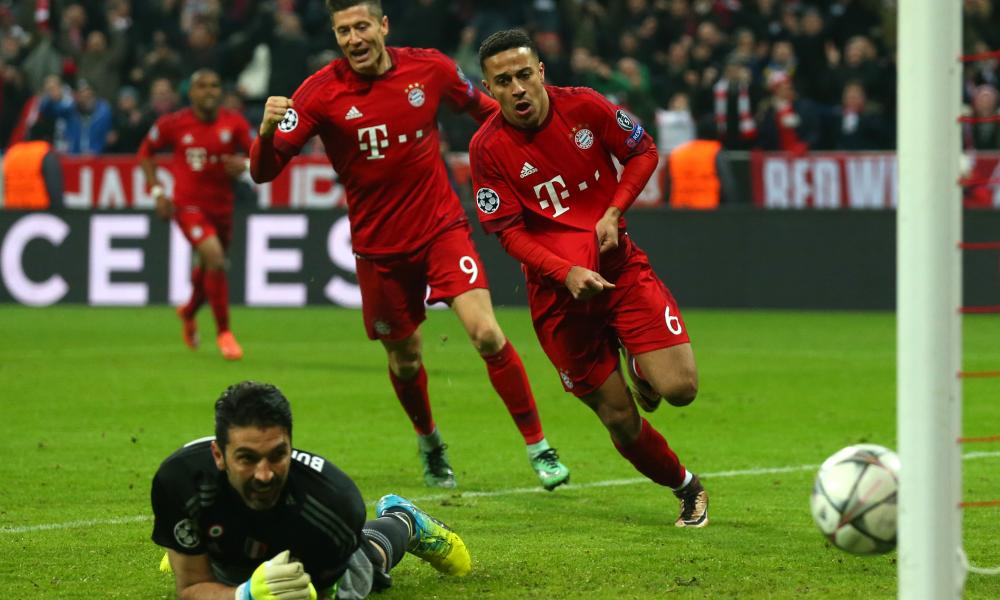 Thiago Alcântara, right, puts Bayern Munich ahead on aggregate in extra time on a memorable night at the Allianz Arena against Juventus.