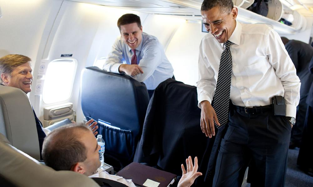 Barack Obama and Ben Rhodes on board Air Force One, en route from London to France for the 2011 G8 summit