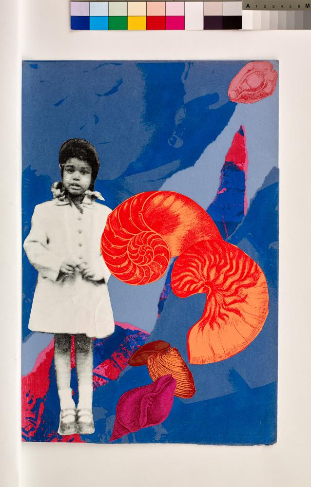 Artwork incorporating a photo of a young black girl on a blue and pink background of other photos