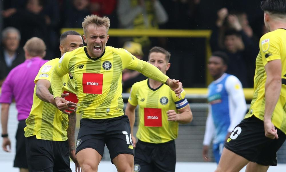 Alex Pattison celebrates after scoring one of his two goals in last month's 2-1 win at home to Barrow.