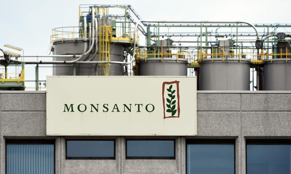 Monsanto logo on a building in Lillo near Antwerp