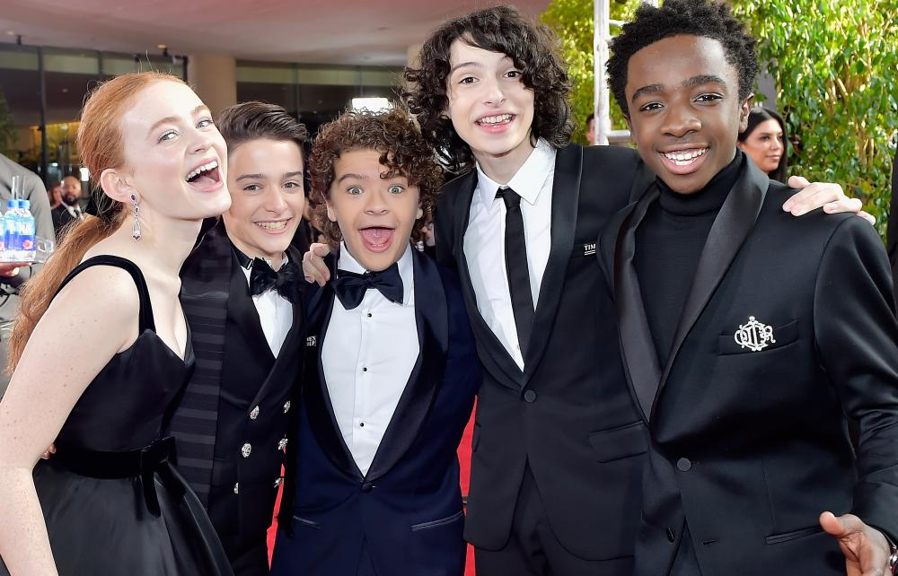 The Stranger Things cast at the 2018 Golden Globes.