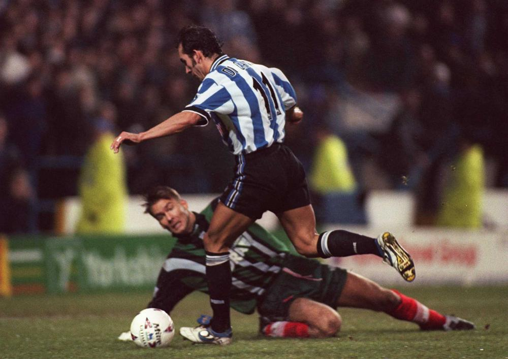 Paolo Di Canio scores the winning goal against Barnsley at Hillsbrough