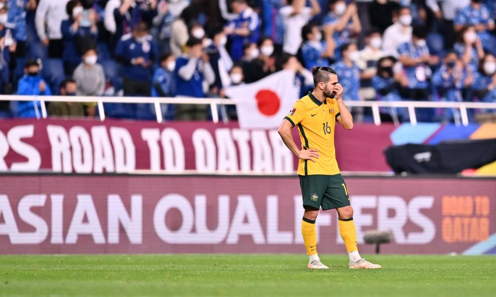 Australia's Aziz Behich scored an own goal as Japan ran out 2-1 winners in the World Cup qualifier in Saitama.