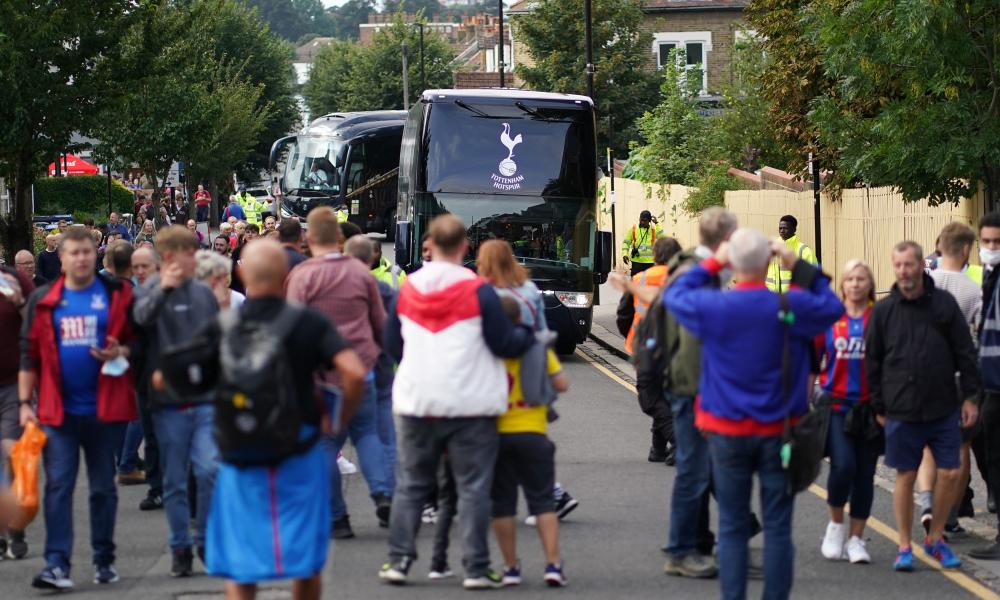 Emerson, Harry Winks and Lucas Moura are amongst those on the Tottenham Hotspur team bus as it winds its way around the streets of South East London.
