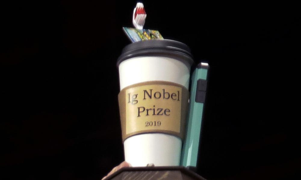 The 2019 Ig Nobel award is displayed at the 29th annual Ig Nobel awards ceremony at Harvard University in Cambridge, Massachusetts.