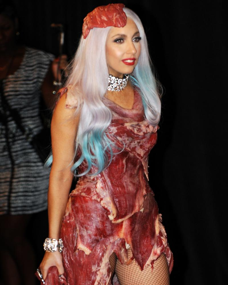 Lady Gaga wears a meat dress