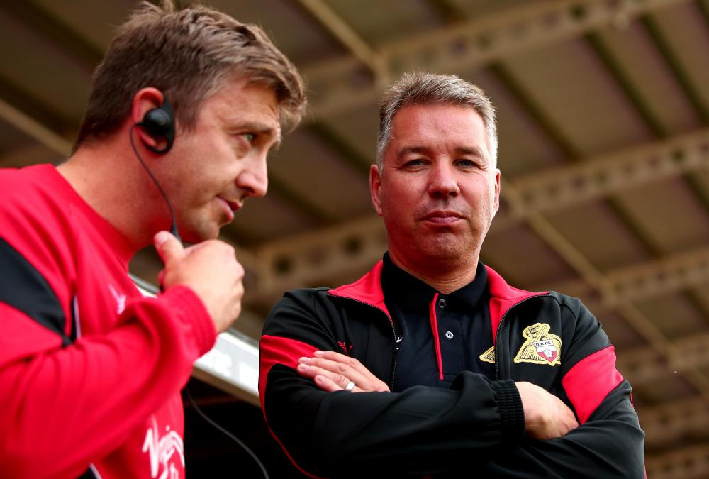 Doncaster Rovers manager Darren Ferguson with his assistant Gavin Strachan.