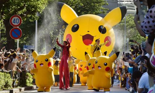 Performers dressed as Pikachu, the Pokémon character, in the Pikachu parade in Yokohama