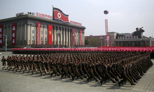 Soldiers march across Kim Il-sung Square during a military parade in Pyongyang, North Korea.