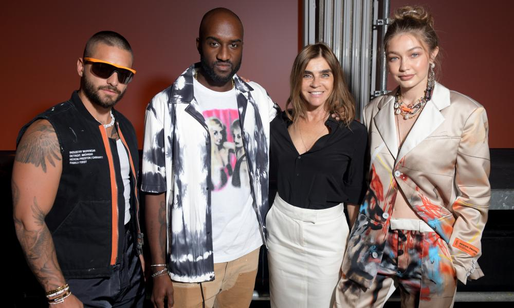 Heron Preston show, Front Row, Spring Summer 2020, Paris Fashion Week Men's, France - 18 Jun 2019Mandatory Credit: Photo by Swan Gallet/WWD/REX/Shutterstock (10311772r) Virgil Abloh, Carine Roitfeld and Gigi Hadid in the front row Heron Preston show, Front Row, Spring Summer 2020, Paris Fashion Week Men's, France - 18 Jun 2019