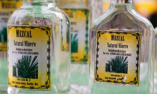 Mezcal on sale at a market