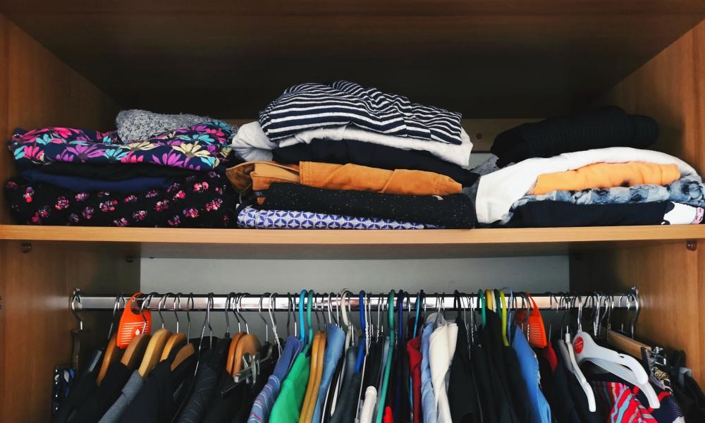 Clothes in a wardrobe