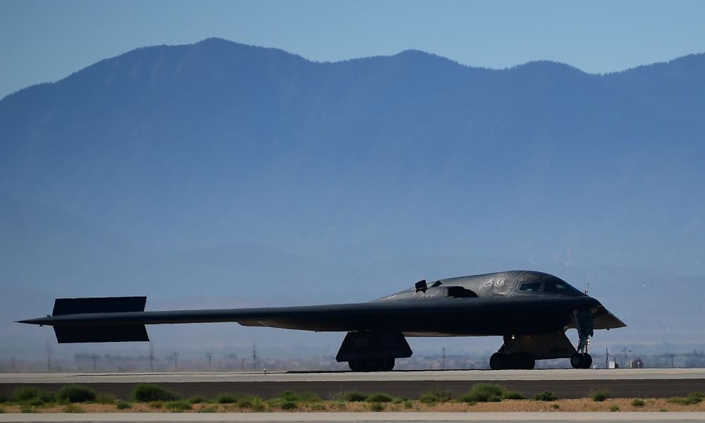 A B-2 Stealth Bomber, made by Northrop Grumman, lands at Palmdale in California in 2014.
