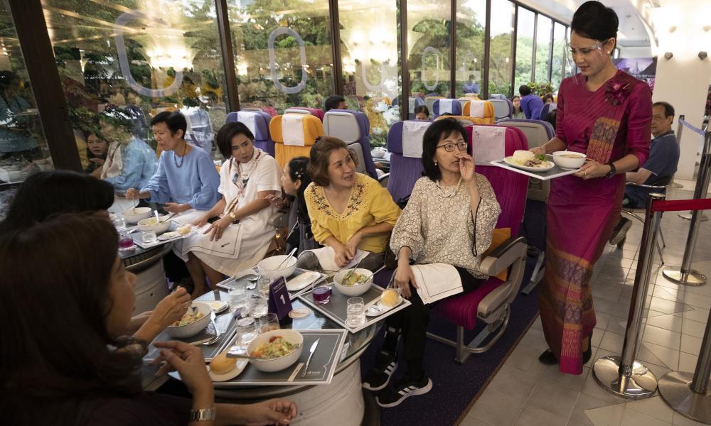 A flight-themed restaurant at the Thai Airways head office in Bangkok, Thailand.