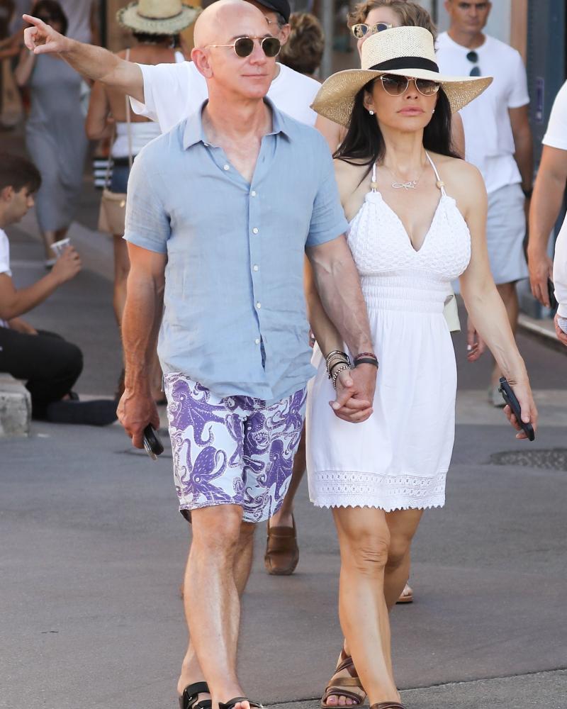 Jeff Bezos – in his Vilebrequin shorts – and his girlfriend Lauren Sanchez in St Tropez during the summer.