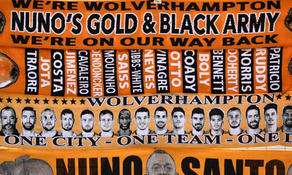 Scarves for sale outside Molineux.