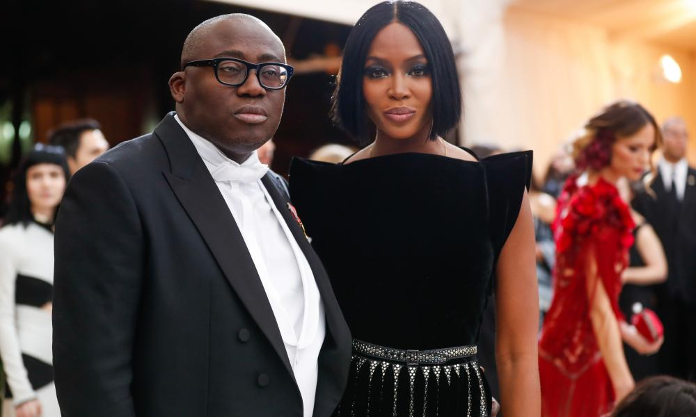 Vogue editor-in-chief Edward Enninful with contributing editor Naomi Campbell, in New York 2017.