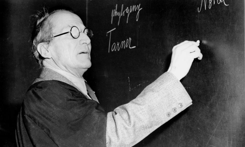 erwin schrodinger lectures at a blackboard in about 1950