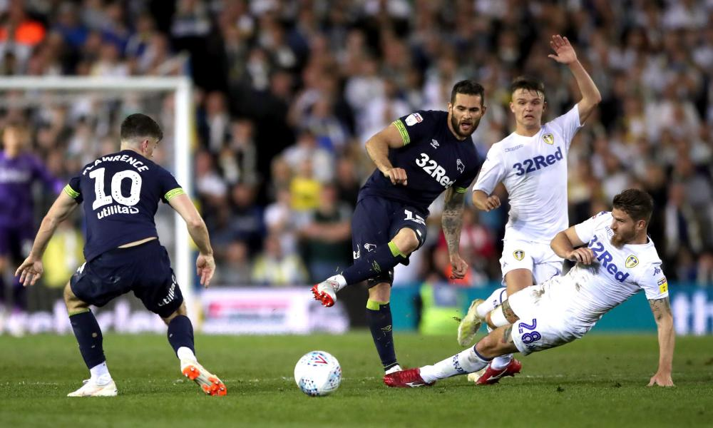 Gaetano Berardi lunges at Bradley Johnson to receive a second yellow card that proved a turning point in the tie.