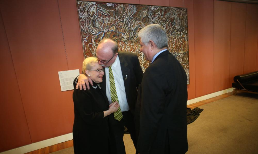 "The speaker Bronwyn Bishop with Warren Entsch and Ken Wyatt at the unveiling of a painting by indigenous artwork by Mavis Ngallametta called ""bushfire at Ngak-Pungarichan 2013"" on the mezzanine level of the marble foyer in Parliament House in Canberra, Wednesday 3rd June 2015. Photograph by Mike Bowers for Guardian Australia #politicslive"