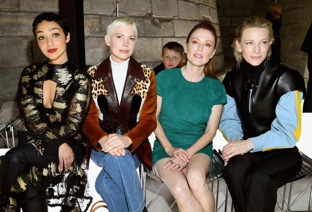 Ruth Negga, Michelle Williams, Julianne Moore and Cate Blanchett attend the Louis Vuitton show